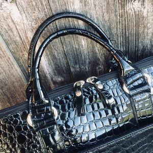 Bueno Black Faux Alligator Laptop Bag Briefcase